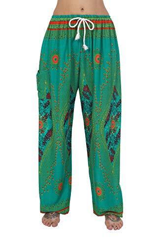 Pantalon Ay Taille Green Harem Thaiuk Homme Pour Et Cordon Avec Femme qUHnx5B