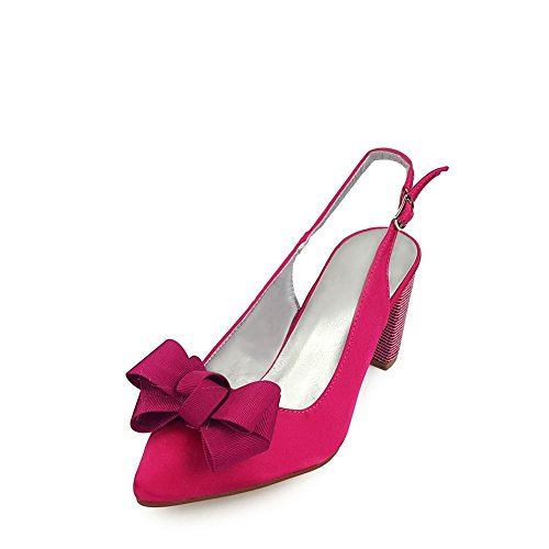 Miss Diva Kirra Ladies Women Medium Block Heel Slingback With Bow Trim Court Shoe FUCH SATIN 3t5pqHwf