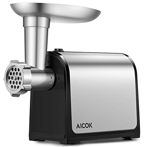 Aicok Electric Meat Grinder, Stainless Steel Meat Mincer & Sausage Stuffer, Heavy Duty Food Grinder Including Sausage Making Kit, Blade & Kubbe Attachment for Home Use &Commercial, ETL Approved by AICOK