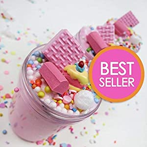 iWeller Cotton Scented Strawberry Fluffy Slime Pink Birthday Cake Cloud Slime Therapeutic Putty with Cake Charm, Pastel Floam Slime Stress Relief Toy for Kids and Adults, Non-Sticky 4 OZ