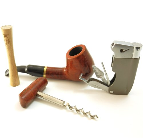 Tobacco Pipe Gift Set - Mr. Brog Gold Collection - Briar Pipe, Stand, Tamper, Lighter w Tool, Wine Opener - Hand Made by Mr. Brog (Image #1)
