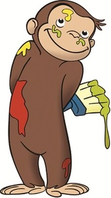 4 Inch Curious George Paint Monkey Animal Removable Peel Self Stick Adhesive Vinyl Decorative Wall Decal Sticker Art Kids Room Home Decor Girl Boy Children Bedroom Nursery 2 1/2 x 4 1/2 inches Tall