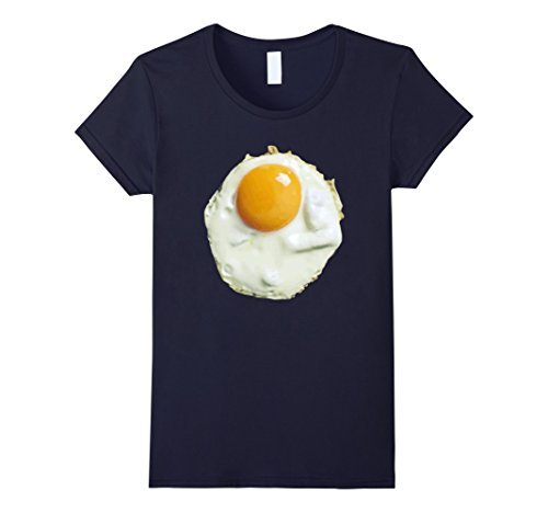 [Women's Fried Egg Funny Costume Halloween T-Shirt - Unisex Large Navy] (Realistic Fried Egg Adult Unisex Costumes)