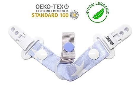 Tetero chupetero Star Azul/100% algodón tela Gutterman. Libre de toxícos. Innovación para mantener la chupeta limpia, doble anclaje. Testado en ...