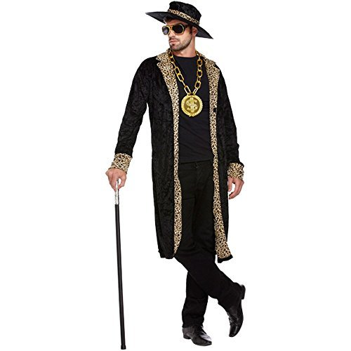 70s Outfits For Men - Mens Rapper Gangster Velvet Pimp Jacket Hat 70s Fancy Dress Costume Fancy Dress Costume Outfit U36204 by Fancy Pants Party Store