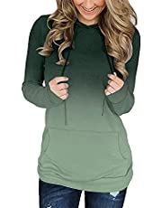 onlypuff Women's Long Sleeve Casual Drawstring Pullover Sweatshirts Hoodies