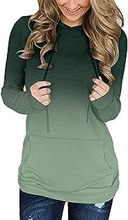 onlypuff Women's Long Sleeve Casual Drawstring Pullover Sweatshirts Hoo