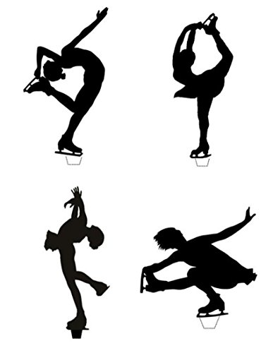 Novelty Ice Skater Silhouette Mix 12 Edible Stand up wafer paper cake toppers (5 - 10 BUSINESS DAYS (Ice Skater Cake Toppers)