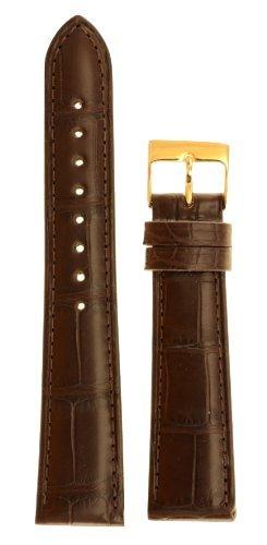Genuine Louisiana Alligator - Men's Genuine Louisiana Alligator Watchband Natural Matte Finish Brown 20mm Watch Band - by JP Leatherworks