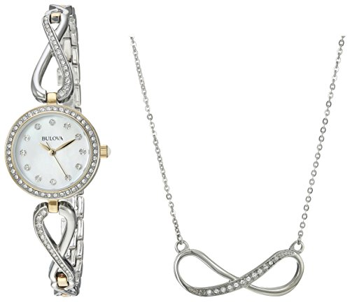 Ladies Bulova Two Tone Bangle Watch - Bulova Women's 98X109 Two Tone Swarvoski Crystal Watch Box Set with Necklace