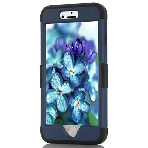 IPhone 6 Coque,Iphone 6S Coque,Lantier [Hard Soft Coque dur] concepteur Crystal Bling Hybrid Cover Coque Armure pour Apple Iphone 6 6S Deep Blue + Noir
