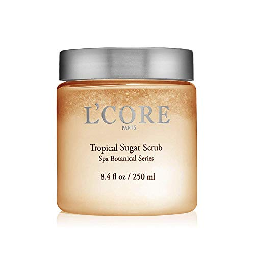 L'Core Paris Tropical Sugar Body Exfoliating Scrub with Anti-Aging Antioxidants & Aloe Vera - Naturally Hydrating Exfoliant - Deep Exfoliator for All Skin Types - 8.4 fl oz/ 250ml