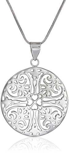 Sterling Silver Filigree Circle Pendant Necklace, 18""