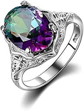 INERIOR ELEMENT sterling silver double ring topaz fire agate elemental