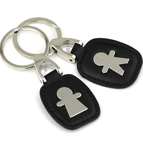Maycom Creative Fashion Doll Black Colors Leather Couple Keychain Key Chain Ring Keyring Key Fob 83842