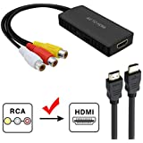 RCA to HDMI Converter, RuiPuo Composite to HDMI Adapter Support 1080P, PAL/NTSC Compatible with WII, WII U, PS one, PS2, PS3, STB, Xbox, VHS, VCR, Blue-Ray DVD,HDM Capture Card (RCA TO HDMI Converter)