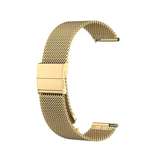 Weinisite 22mm Stainless Steel Replacement Band for Samsung Gear S3/Samsung Galaxy Watch R800(46mm)/Ticwatch E2/Polar Vantage M/Huawei Watch GT Classic Smart Watch (Gold)
