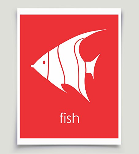 Angel Fish Nautical Art Red Unframed Paper Print (Angel Baby Shower Theme)