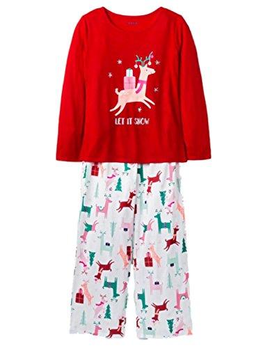 Caterpillar Girls Let It Snow Reindeer Christmas Pajamas Holiday Snowflake Sleep Set