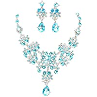 Lavany Luxury Prom Wedding Bridal Jewelry Crystal Rhinestone Necklace Earring Sets (Sky Blue)
