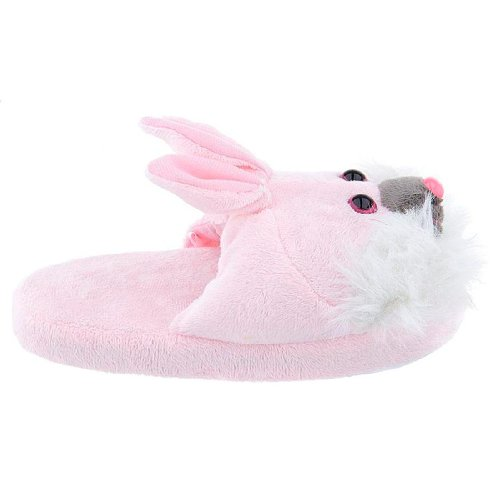 Pink and White Bunny Slippers for Women L 9-10