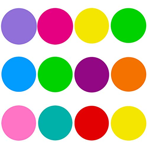 12 Pcs Colorful Dry Erase Circles White Board Marker Removable Vinyl Dot Wall Decal for Training School Teaching Progress, Family Message Board (Vinyl Dry Erase)