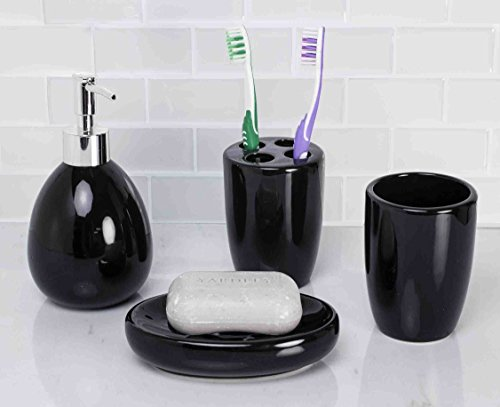 Deluxe Ceramic Bathroom Vanity Accessory Set, Soap Dispenser Pump, Toothbrush Holder, Tumbler, Soap Dish - 4 Piece - (Deluxe Liquid Soap)