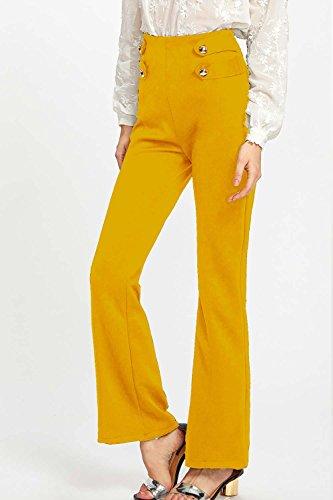 Bouton Pantalon Des Haute Femmes Ensemble Taille Yellow Long qwtEqCf
