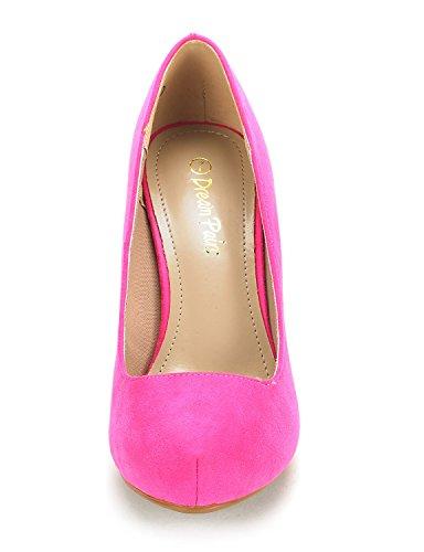 DREAM PAIRS Tiffany Womens New Classic Elegant Versatile Low Stiletto Heel Dress Platform Pumps Shoes Tiffanny-fuchsia Suede qdjWvUWTFL