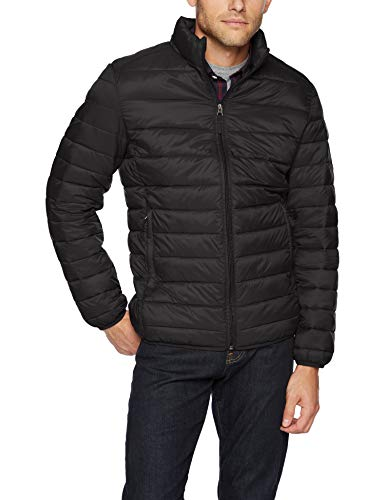 Amazon Essentials Men's Lightweight Water-Resistant Packable Puffer Jacket, Black, Large
