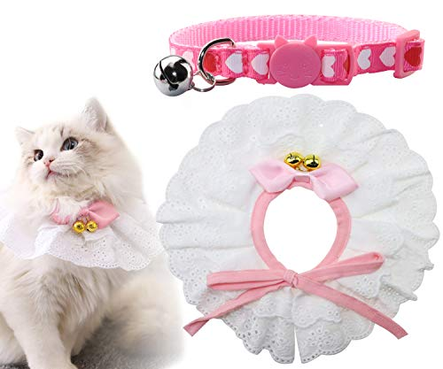- Joytale Cat Collar and Bandana,Princess Lace Style Kerchief for Girls,Safe Breakaway Buckle Kitty Collars,Fashion Scarf Great for Kitty Birthday Outfit,Gift and Party,Pink & White
