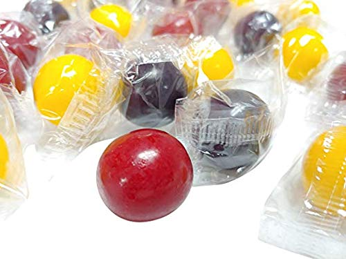 (HARD Rainblo Gumballs 2 Pounds Assorted Flavors Individually Wrapped RAIN BLO Gum Balls Candy)