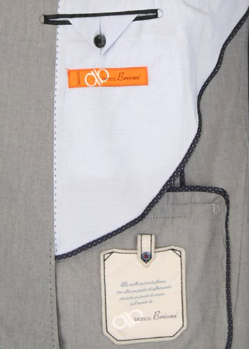 Bianco Brioni Orange 2 Button Mens Suit Trim Fit Made in Italy Washed Cotton
