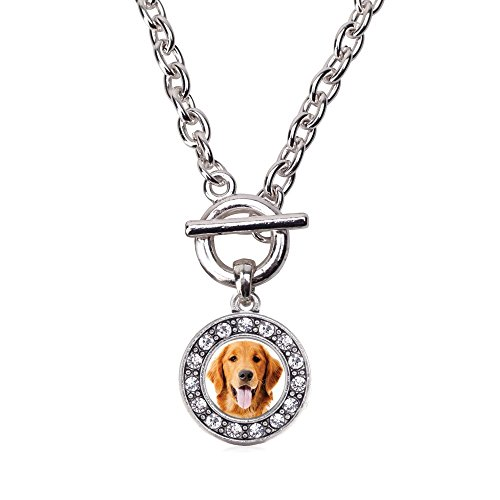 - Inspired Silver The Golden Retriever Circle Charm Toggle Necklace Clear Crystal Rhinestones