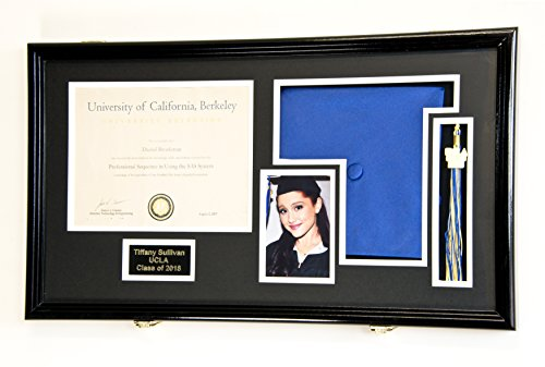 Custom Graduation Diploma Frame Tassel Photo Cap Engraving Display Case for 11 x 8.5 Certificate w/ Custom Matting Colors (Black Wood Finish w/Black/White Matt, Diploma+4x6+Cap+Engraving+Tassel)