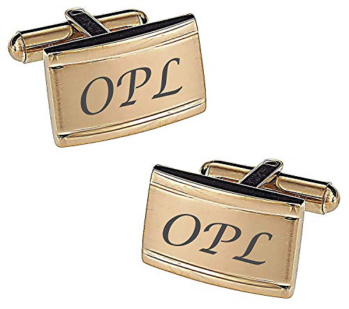 Personalized Gold Two Tone Stainless Steel Engraved Cufflinks
