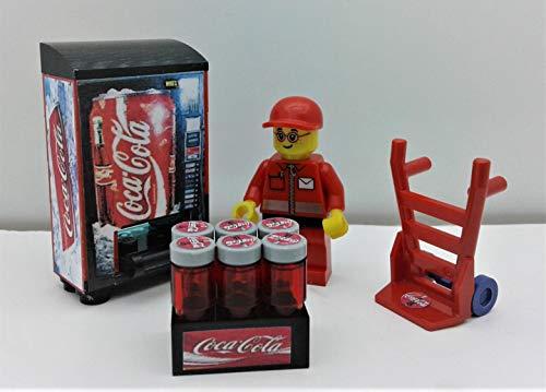 - Building Toys Bricks City Custom Coca Cola Set. Vending Machine. Minifigure. Hand Truck & More