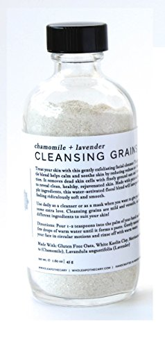 Whole Apothecary All Natural Organic Skin Care: Certified Organic Exfoliating Facial Cleanser with Lavender + Chamomile Cleansing Grains for Clear Skin