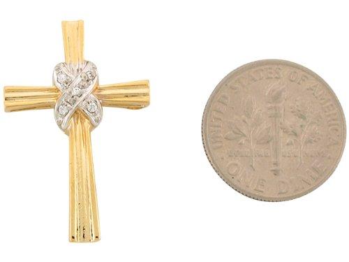 14ct 2.7cm Or Deux Tons Pendentif Croix Religieuse Serti De Zirconias Blancs