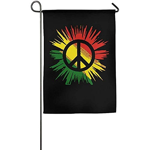 (HUVATT Rasta Raggae Peace Sign Home Garden Flag Decorative Indoor Outdoor Welcome Family Party Flag 28 x 40)