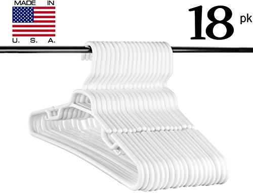 Neaties USA Made Heavy Duty Extra Large White Plastic Hangers, Set of (Company Store White T-shirt)