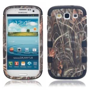 Brown Grass Pattern Plastic Protective Case for Samsung S3/i9300 Black Bottom