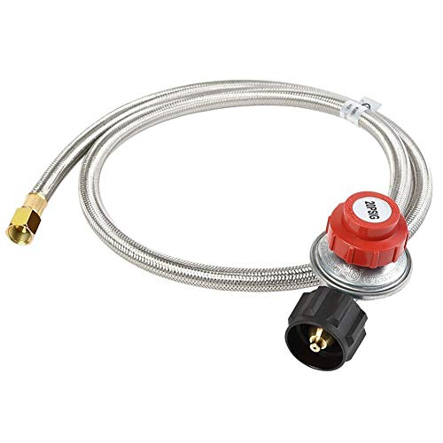 Regulator Propane Hose (XHome Propane Regulator 0-20 PSI Braided Adjustable LP Regulator with Stainless Steel Hose QCC1 Tank for Grill, Burner, Turkey Fryer and More, High Pressure, 3/8'' Female Flare Fitting (48 inch))