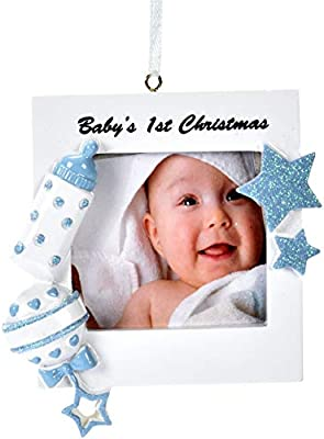 Amazon.com: Gift Boutique Baby\'s First Christmas Ornament 2018 Blue ...