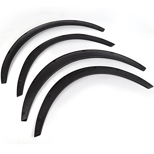 Universal 4 Piece 3.1″/80mm Car Tires Fender Flares Flexible Durable Polyurethane Body Wheel Fender Flares Kit Black Arch Wheel Eyebrow Protector mudguards Sticker