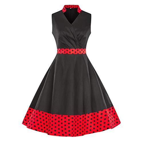 URIBAKE ♥️ Women's Retro A-Line Dress Sleeveless V-Neck Dot Print Spring Vintage Country Rock Cocktail Dress Black
