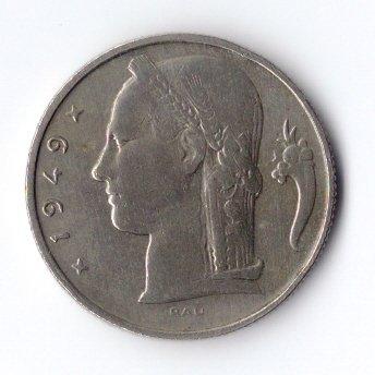 BELGIUM 1949 5 FRANCS COIN Europe - BELGIQUE French Legend