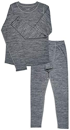 Trimfit Boys Space Dye Long-Sleeve w/Thumbholes Thermal Long Underwear Set (Grey, Large (10-12))