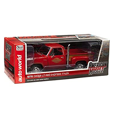 American Muscle - Diecast Model Cars - 1978 Dodge Pickup Lil Red Express Truck - 1/18 Scale Die Cast Replica: Automotive