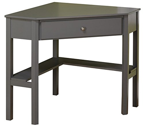 - This Classically Styled Desk utilizes a Small Space a Big Impact Stylish Under-Desk Shelving a Drawer to Hide Clutter. Simple Living Wood Corner Computer Desk (Grey)
